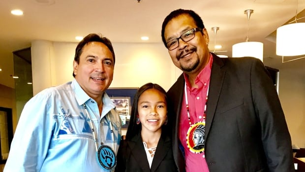 Perry Bellegarde, Autumn Peltier and  Regional Manitoba Chief Kevin Hart at July 2017 Chief Assembly, Regina, Sask.