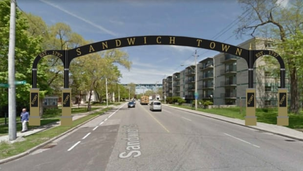 An artist rendering of a gateway arch that could span Sandwich Street between Paterson and McKee Parks.