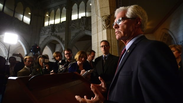 Natural Resources Minister Jim Carr delivers a statement on TransCanada's decision to cancel the Energy East pipeline project on Parliament Hill in Ottawa on Thursday.