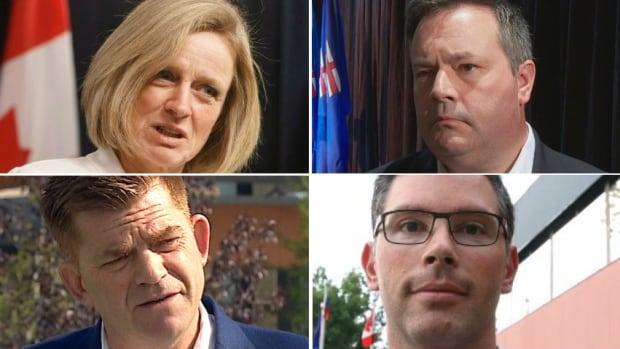 Clockwise from top left: Premier Rachel Notley and UCP leadership candidates Jason Kenney, Doug Schwitzer and Brian Jean offered varying views on the termination of the Energy East pipeline proposal.