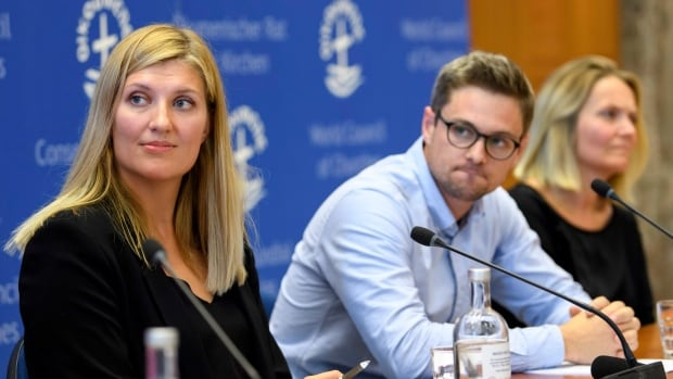 Beatrice Fihn, left, executive director of the International Campaign to Abolish Nuclear Weapons (ICAN), Daniel Hogsta, centre, group co-ordinator, and Grethe Ostern, member of the steering committee, speak during a news conference after the Nobel Peace Prize announcement Friday.