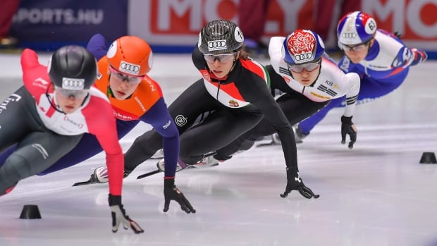 Kim Boutin, far left, is part of a strong Canadian contingent competing at the short track World Cup stop this weekend in Dordrecht, Netherlands. CBCSports.ca will have live coverage of the event beginning Saturday at 7:30 a.m. ET.