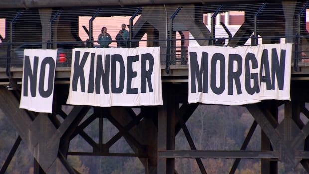 Activists drop anti-Kinder Morgan banner from High Level Bridge