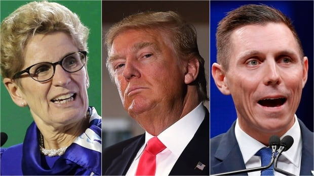 From left: Ontario Premier Kathleen Wynne, U.S. President Donald Trump and Ontario Conservative Leader Patrick Brown.