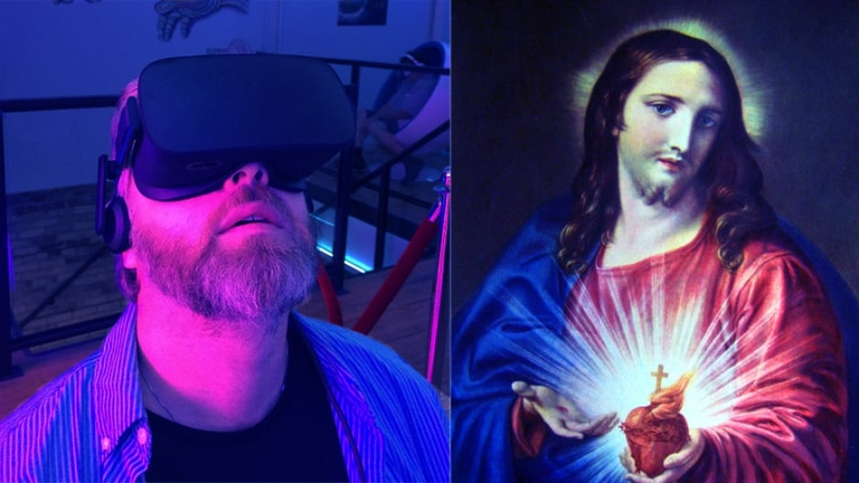 Left, Tapestry producer Sean Foley, immersed in prayer. Right, a more traditional contemplative aid: an image of the Sacred Heart of Jesus.