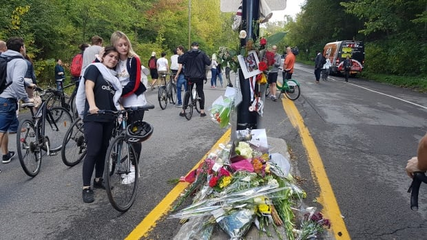 About 250 cyclists gathered last week for a memorial ride in honour of 18-year-old Clément Ouimet, who was fatally injured on Camillien-Houde Way.
