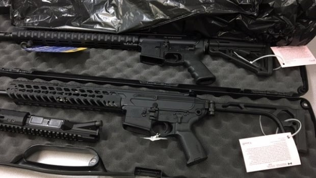 Canada Border Services officers seized two semi-automatic rifles and prohibited magazines during at the border crossing near Woodstock.