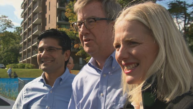 Ottawa-Centre MPP Yasir Naqvi, left, Ottawa Mayor Jim Watson, centre, and Ottawa-Centre MP Catherine McKenna at the groundbreaking for the Rideau Canal crossing. Each level of government has kicked in money to cover the $21-million price tag.