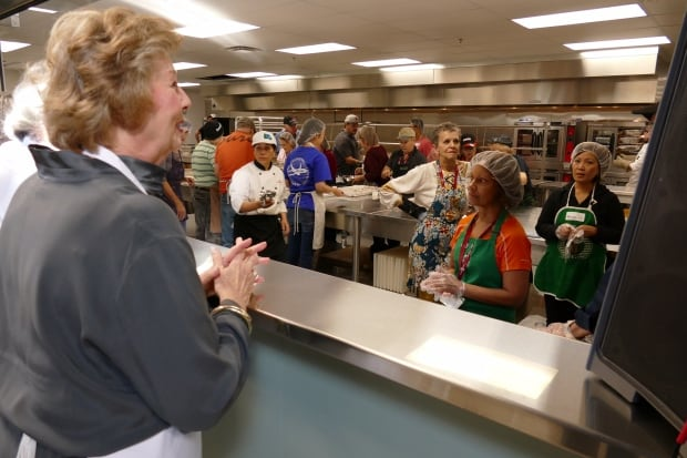 Janice Filmon Speaks To Volunteers At Siloam Missions New Kitchen Inside The Charitys Brand Dining Hall Which Opened Friday Jeff Stapleton CBC