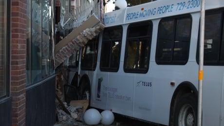 transit bus hits Brandon building after crash with stolen car