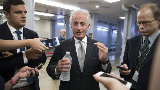 Senator Bob Corker, a Republican from Tennessee who is chairman of the Senate foreign relations committee, chats with reporters at the Capitol in Washington. Corker isn't seeking re-election, and that gives him elbow room to say what he wants to.