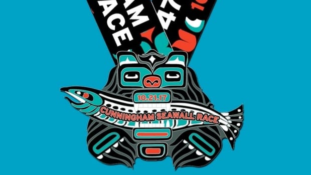 A non-Indigenous design team created this medal, saying it was 'inspired by the work and aesthetic of native artists of Canada,' for the Vancouver Running Festival's Seawall Race. Organizers were met with backlash after posting a photo of the medal on Facebook.