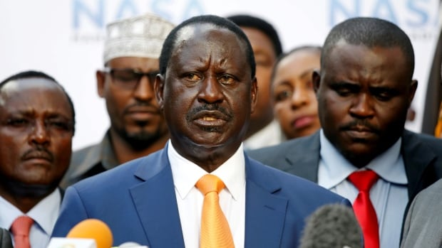 Kenyan opposition leader Raila Odinga, the presidential candidate of the National Super Alliance (NASA) coalition, speaks told a news conference he would not stand in a court-ordered rerun of August's presidential election that is scheduled for Oct. 26 in Nairobi on Tuesday.