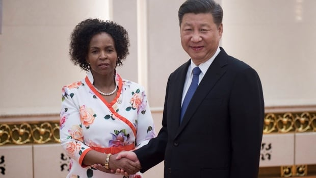 South Africa's Foreign Minister Maite Nkoana-Mashabane and China's President Xi Jinping pose as Xi meets officials from the BRICS countries, Brazil, Russia, India, China and South Africa, in Beijing on June 19. Over 15 years, China's foreign aid contributions have almost matched those of the United States.
