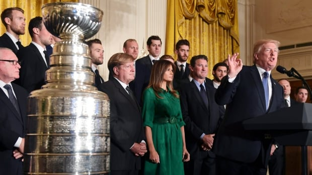 U.S. President Donald Trump speaks during a ceremony to honour the 2017 Stanley Cup champion Pittsburgh Penguins.