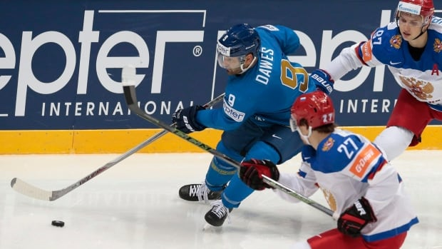 Winnipeg-born Nigel Dawes (9) plays for Kazakhstan in the 2016 world championships after becoming a citizen of the former Soviet republic.