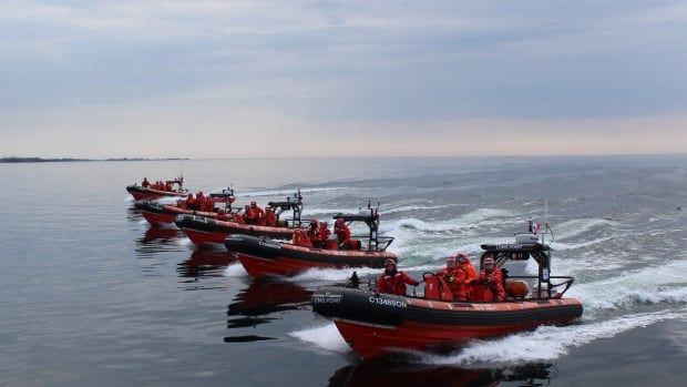 Inshore rescue boat crews on the Great Lakes. The first Arctic rescue boat station will include a similar vessel.