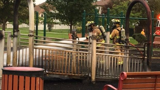 Tecumseh firefighters battle a blaze at Lacasse Park on Oct. 10, 2017.