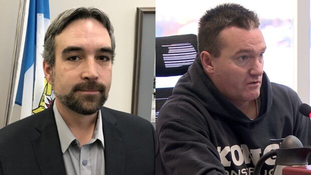 Yellowknife mayor Mark Heyck, left, and city councillor Niels Konge are at the centre of a long-simmering dispute that has led duelling conduct complaints to be filed against one another. The complaints will be heard by a 6-member Conduct Review Committee.