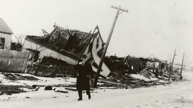 Destroyed homes on Campbell's Road in Halifax are shown in this 1917 or 1918 photo from the Nova Scotia Archives.