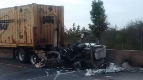 tractor-trailer fire 401