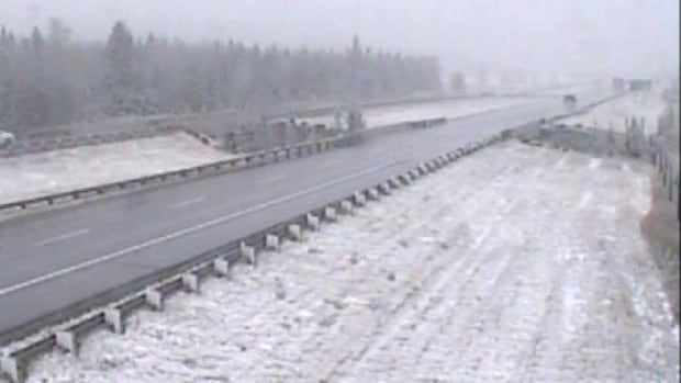 A view of the Trans-Canada Highway, east of the Dead Man's Flats overpass near Canmore, on Wednesday afternoon.