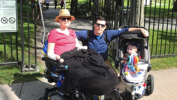 Lindsey Hubley (left), her fiancé Mike Sampson and their son Myles are shown in a handout photo. Hubley, a new mother who was diagnosed with flesh-eating disease days after giving birth and is now a quadruple amputee, is taking legal action against a Halifax hospital and several doctors.