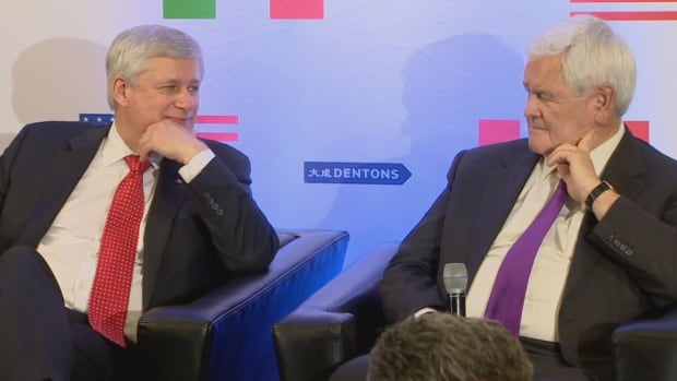 Former prime minister Stephen Harper and former Republican speaker of the House of Representatives Newt Gingrich and a Trump supporter discuss trade at the Dentons law firm in Washington D.C. Wednesday.