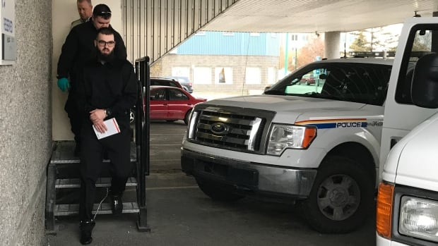 Todd Dube leaves the Yellowknife courthouse Wednesday afternoon. Dube is being sentenced for his role at the centre of a 'dial-a-dope' operation in the city that resulted in one of the largest seizures of illicit drugs, guns, cash, and merchandise in the territory in a decade.