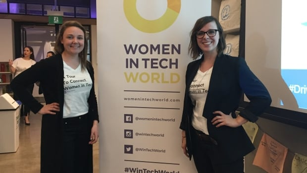 The co-founder of WinTech, Alicia Close, right, stands with the organization's head of research, Melanie Ewan at their Toronto community conversation.