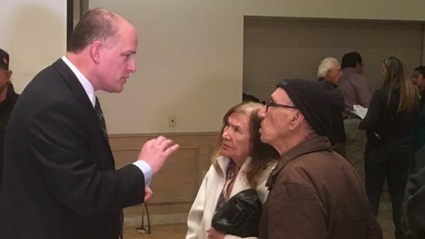 Mayor Drew Dilkens talks to residents at the Ward 10 meeting last night at the Fogolar Furlan Club.