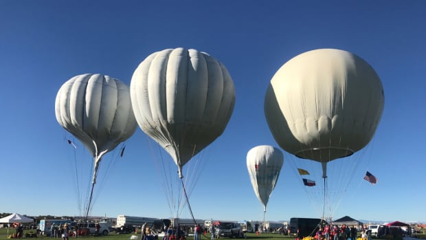 Long-distance gas balloons get ready to launch at the America's Challenge gas balloon race in New Mexico.