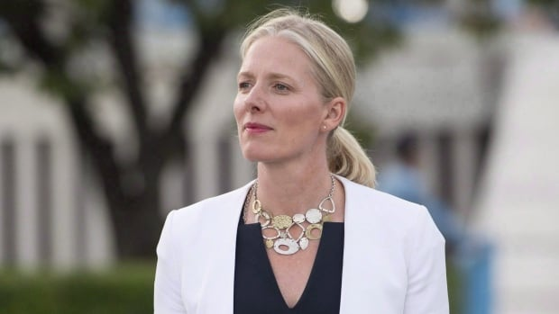 Minister of Environment and Climate Change Catherine McKenna makes her way to speak with media at the United Nations Headquarters in New York City on September 20, 2017. Canada is joining forces with the United Kingdom to push for a global crackdown on unabated coal-fired electricity.