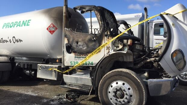 Police say the fire on this propane truck was arson.