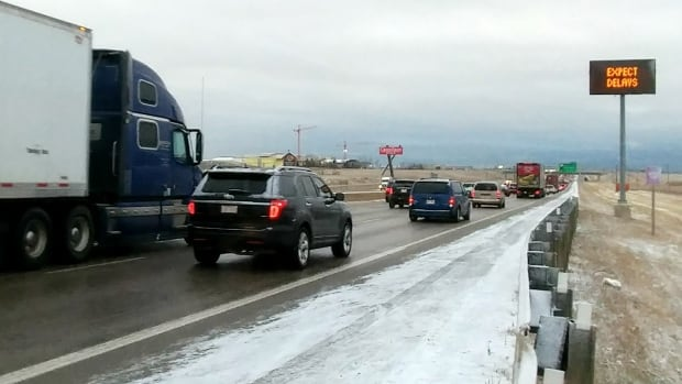 It was a slow go on Thursday morning along Highway 2 southbound near Balzac, on the way into Calgary.