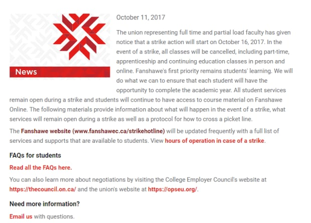 Fanshawe College letter to students