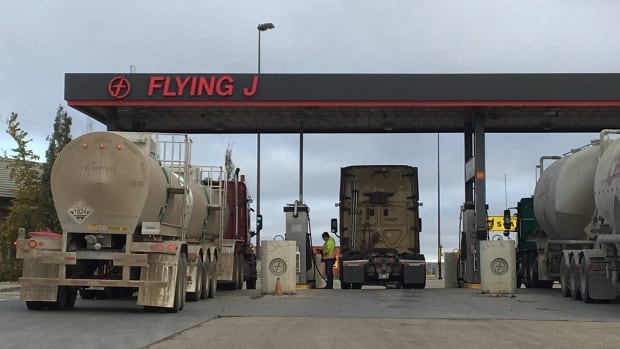 The Flying J gas station was the scene of a car jacking early Thursday morning, believed to be part of a crime spree that stretched from Edmonton, to Sherwood Park, to Saskatchewan.