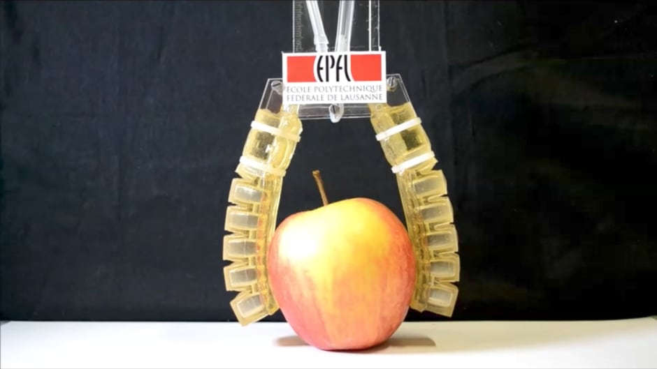 Researchers in Switzerland have developed robotic materials that are edible, like the arms holding this apple.