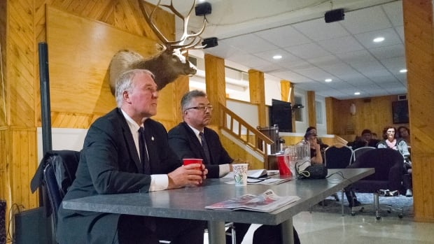 Liberal MP Bill Blair and N.W.T. MP Micheal McLeod at a public forum in Yellowknife on Wednesday to discuss legalized cannabis.