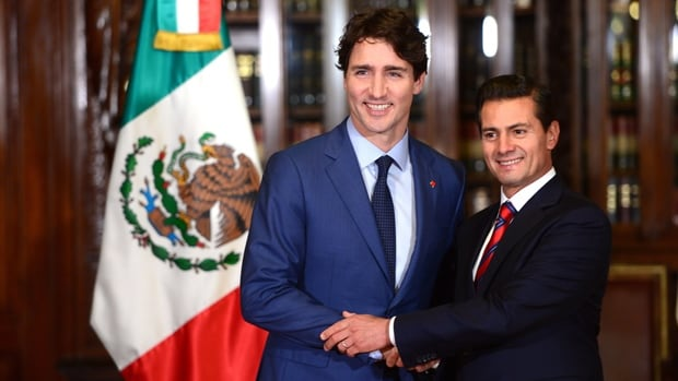 Mexican President Enrique Pena Nieto, right, shakes hands with Prime Minister Justin Trudeau during a meeting in Mexico City back in October. Both men are hoping NAFTA survives its ongoing renegotiations.