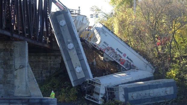 Eight freight train cars derailed around 9 p.m. Thursday. Four, which are empty,  slid off the tracks. No one was hurt.