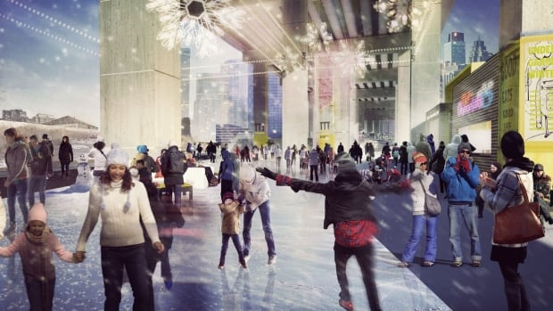 An artist rendering of The Bentway in winter at Fort York Boulevard.