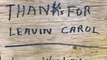 Handwritten sign found on Carol Culleton cottage property Oct 13 2017