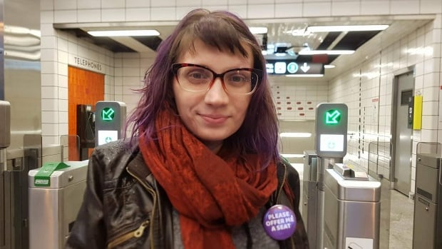 A Toronto woman has come up with a simple, quick and polite way for people with episodic or invisible disabilities to ask for a seat when riding the TTC. It's called Equity Buttons.