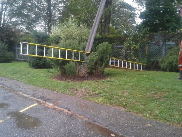 Snapped power pole