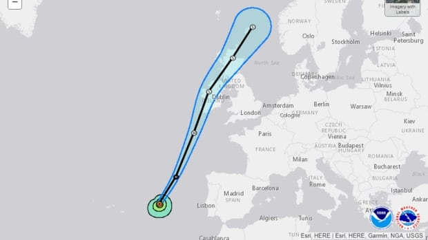 Ophelia is expected to be a 'powerful extra-tropical cyclone with hurricane-force winds Monday while it moves near Ireland and the United Kingdom,' an advisory from the U.S. National Hurricane Center said on Sunday.
