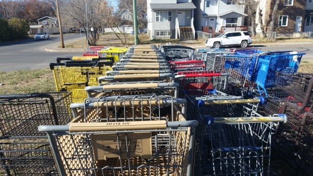 Many shopping carts were collected during Sunday's annual junk cleanup in Regina's North Central neighbourhood.