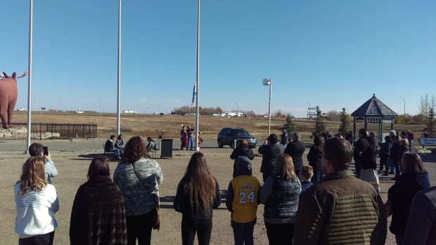 The event included a flag blessing and pipe ceremony before elder Gerry Stonechild raised the Treaty Four flag.