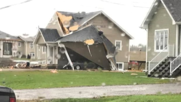 Six homes were damaged in Mont-Laurier and two of them were evacuated after powerful winds hit the Laurentians town two and a half hours north of Montreal.