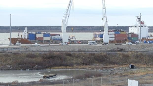 The MV Nuanilk docks at the port in Churchill on Oct. 15, 2017.